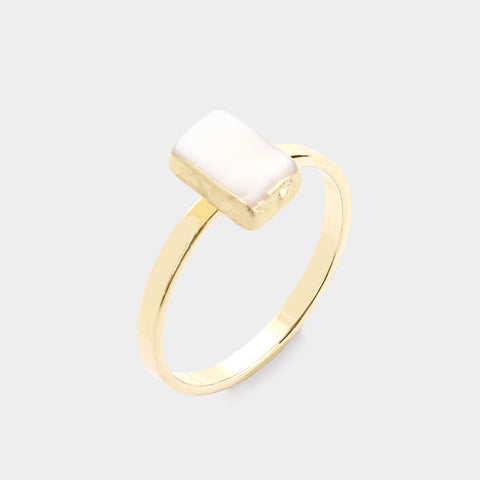 Mother of Pearl Rectangle Ring