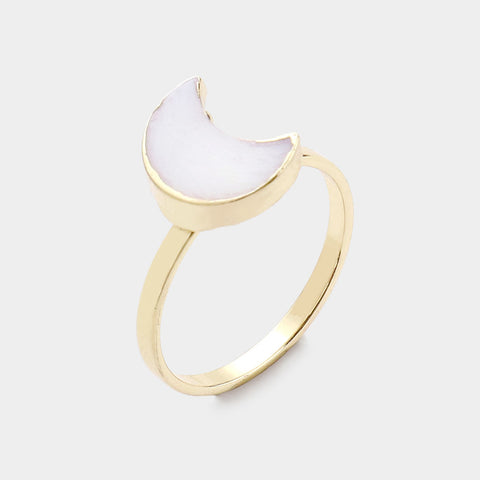 Mother of Pearl Crescent Moon Ring