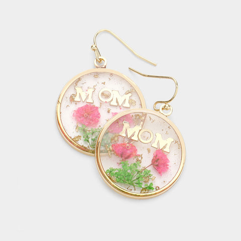 Mom Pressed Flower Clear Dangle Earring