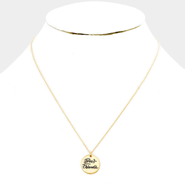 """Best Friends"" Disc Pendant Necklace: Gold"