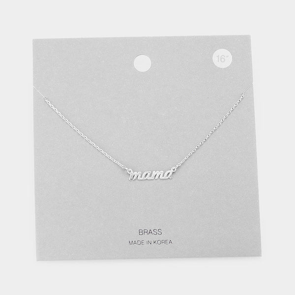 """Mama"" Brass Metal Pendant Necklace: Worn Silver"