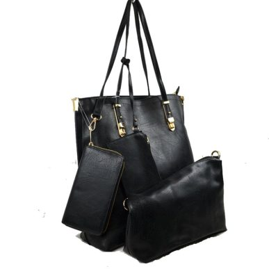 4 in 1 Vegan Tote Bag: Black