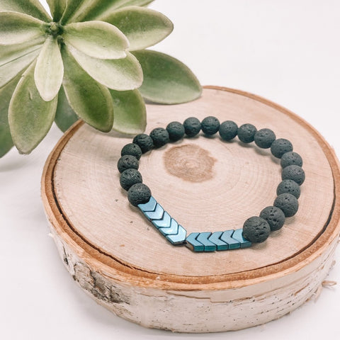 Hematite Anxiety Relief Lava Diffuser Bracelet