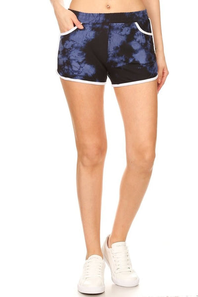"""Keep It Comfy"" Blue/Black Tie-Dye Shorts"
