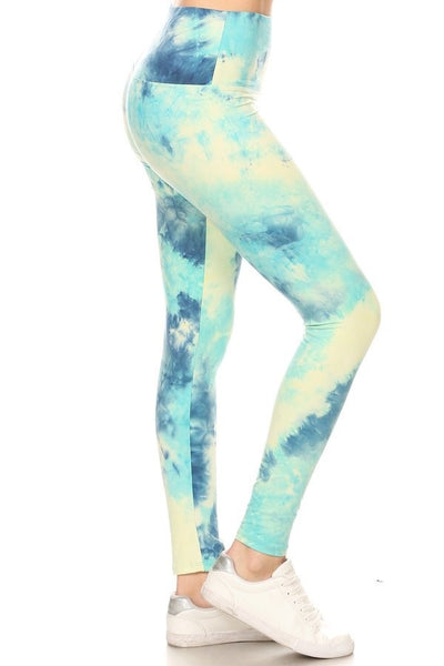 "Lotus Athletics: ""Magic Leggings"" - Teal Tie Dye"