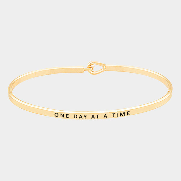 """One Day At A Time"" Engraved Bracelet (GOLD, SILVER, ROSE GOLD)"