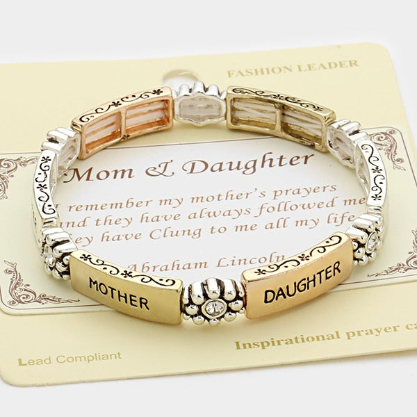 """Mom & Daughter"" Stretch Bracelet - MultiColored"