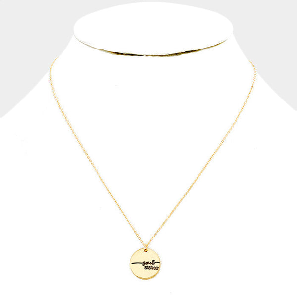 """Soul Sister"" Disc Pendant Necklace: Gold"