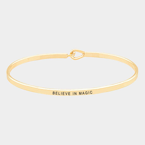 """Believe In Magic"" Brass Thin Metal Hook Bracelet: Gold-Colored"