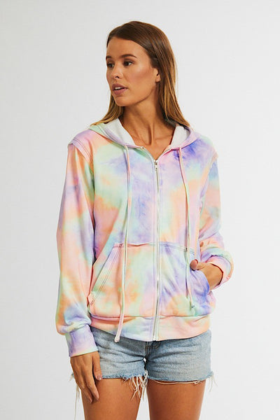 """Cool and Collected"" Multi-color Tie Dye Zip-up Hoodie"