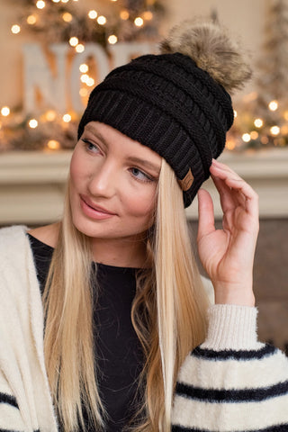 CC Beanie with Removable Pompom