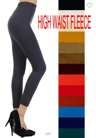 High waisted fleece magic leggings