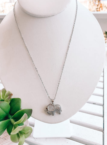 Elephant Cubic Zirconia Necklace