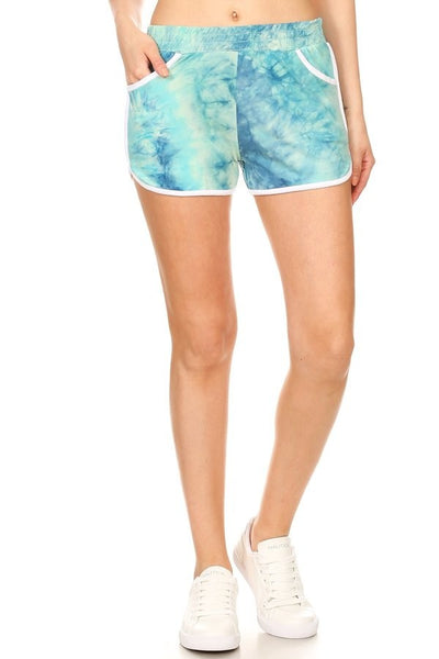 """Keep It Comfy"" Teal Tie-Dye Shorts"