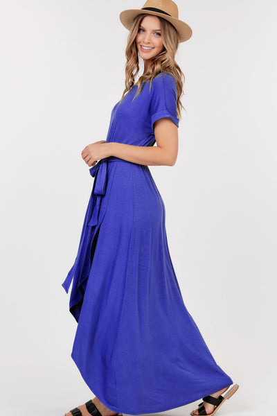 """Thoughts of Hue"" Royal Blue Front Tie Maxi Dress"