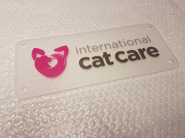 Frosted Acrylic Plaque for International Cat Care