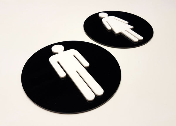 Black & White 3D Acrylic Toilet Signs