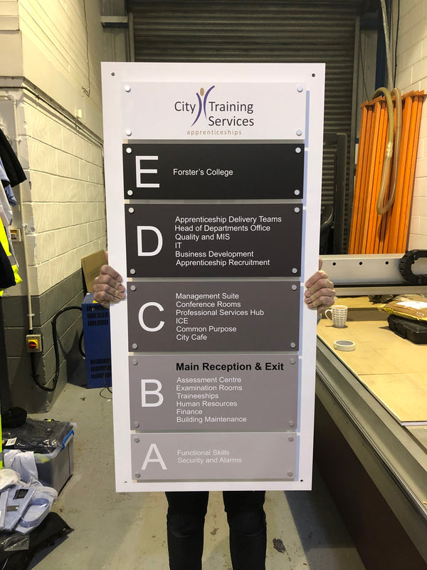 Directory Signage for City Training Services (Bradford College)