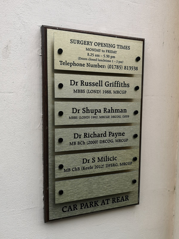 New Name Board Installed at Cumberland House Surgery in Stone, Staffordshire