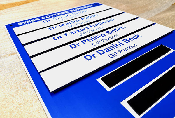 Magnetic Changeable Nameboard for Swiss Cottage Surgery