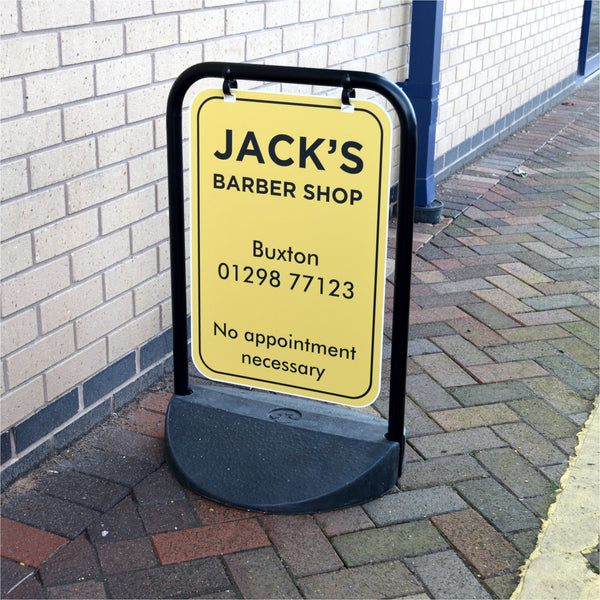 Eco Swinger Pavement Sign for Jack's Barber Shop in Buxton
