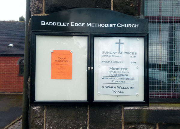 Outdoor Notice Board for Baddeley Edge Church