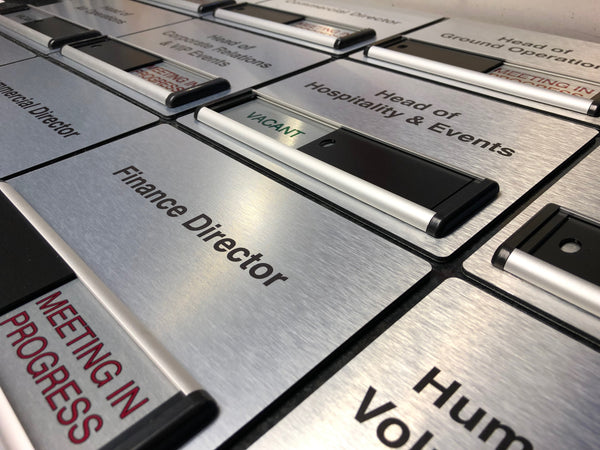 Brushed Silver Sliding Signs with Header Panels for The Royal Air Force Charitable Trust Enterprises
