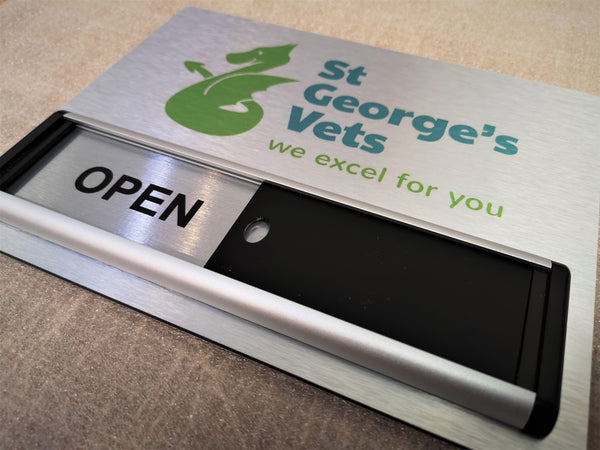 Open / Closed Sliding Sign + Logo Header Panel for St George's Vets