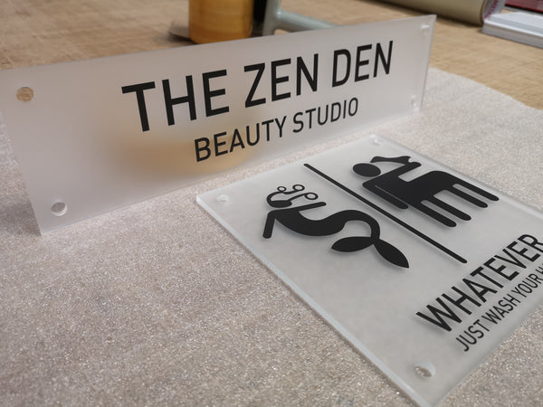 Frosted Acrylic Signs for The Zen Den