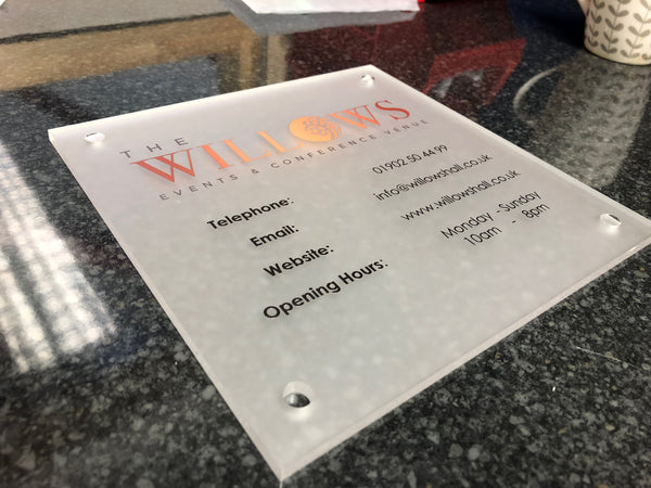 Precision Cut and Print for Willows Hall Events & Conference Venue