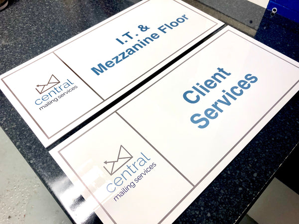 Acrylic Door Signs printed for the Central Mailing Service