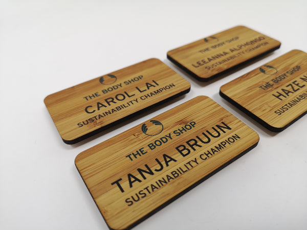 Bamboo Name Badges for The Body Shop
