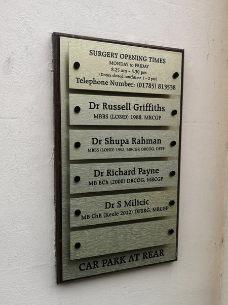 Name Board for Cumberland House Surgery