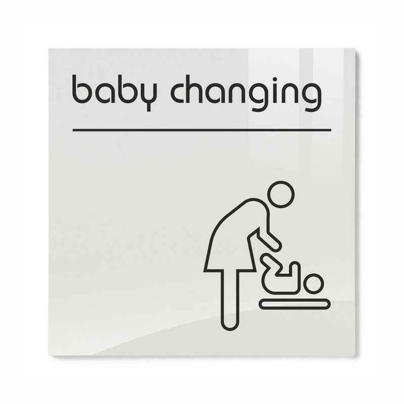 Opal Acrylic Baby Changing Toilet Sign