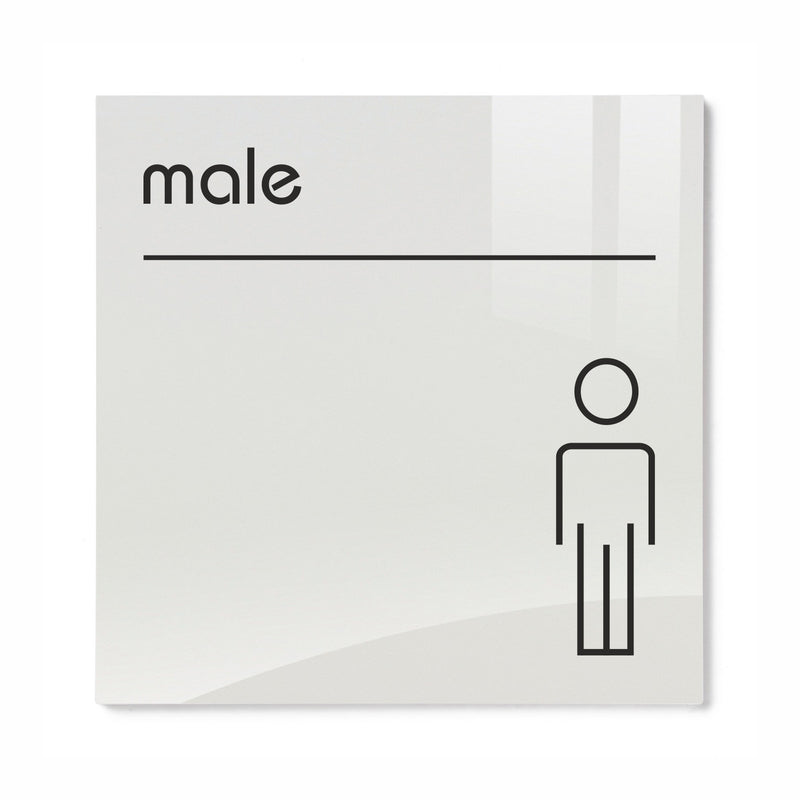 Opal Acrylic Male Toilet Sign