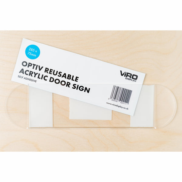 OptiV Reusable Acrylic Door Signs (Self-Adhesive)
