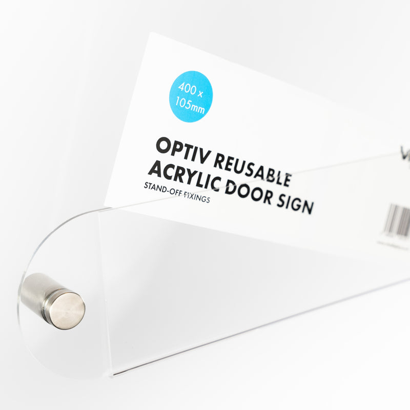 OptiV Reusable Acrylic Door Signs (Stand-Off)