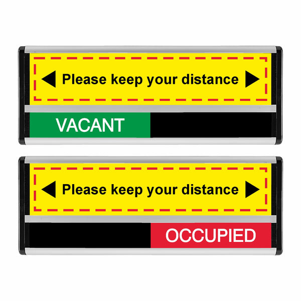Please Keep Your Distance Vacant Occupied Sliding Sign
