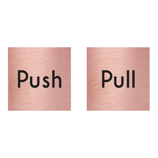 Rose Gold Aluminium Push & Pull Sign Twin Pack