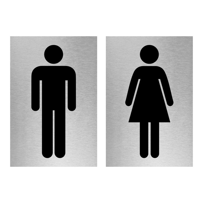 Slimline Aluminium Male & Female Toilet Sign Twin Pack