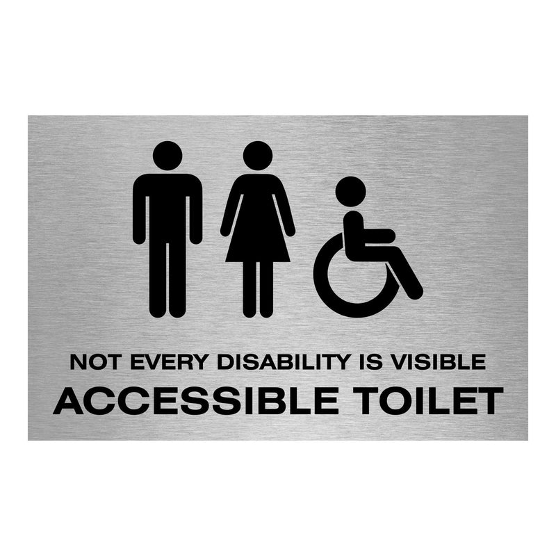 Slimline Aluminium Not Every Disability is Visible Accessible Toilet Sign | Viro Display