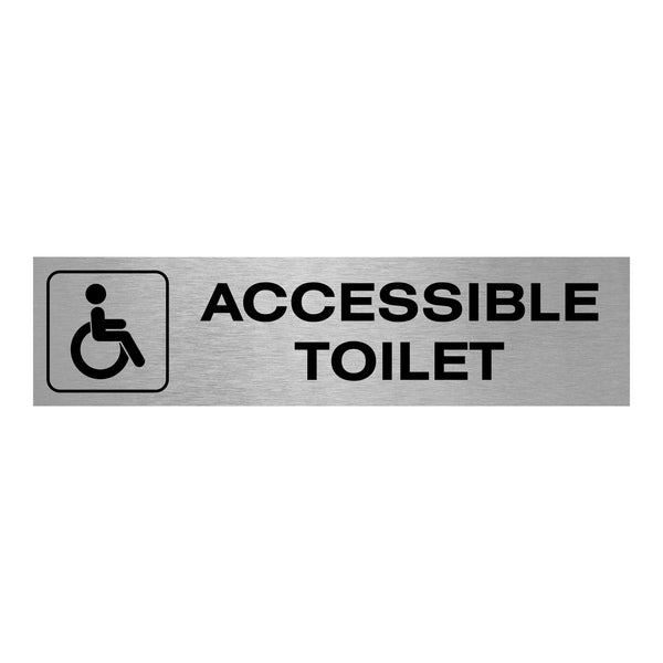 Slimline Aluminium Oblong Accessible Toilet Sign