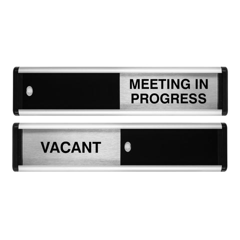 Viro Vacant/Meeting in Progress Sliding Door Sign (Black / Silver Edition)