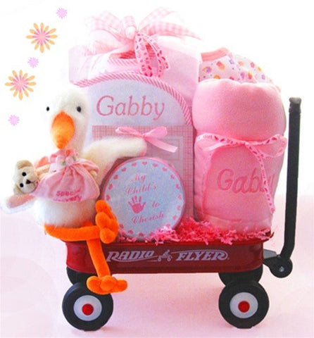 Here Comes The Stork Baby Wagon Gift Set