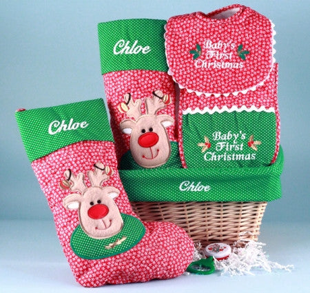 """Baby's First Christmas"" Personalized Basket (#BGC100) - StorkBabyGiftBaskets.com"