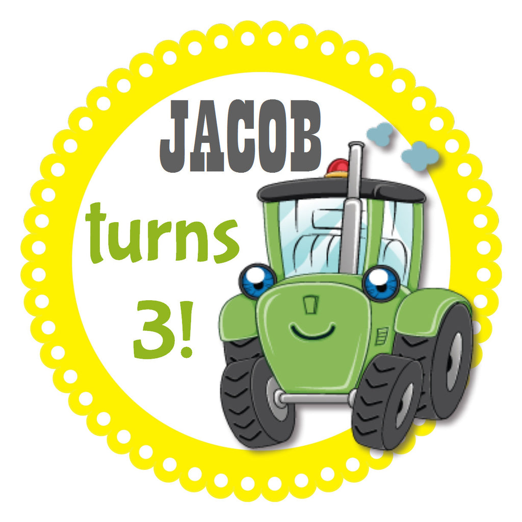 Green Farm Tractor - Boys Birthday Party Sticker (#BPS4) - Stork Baby Gift Baskets