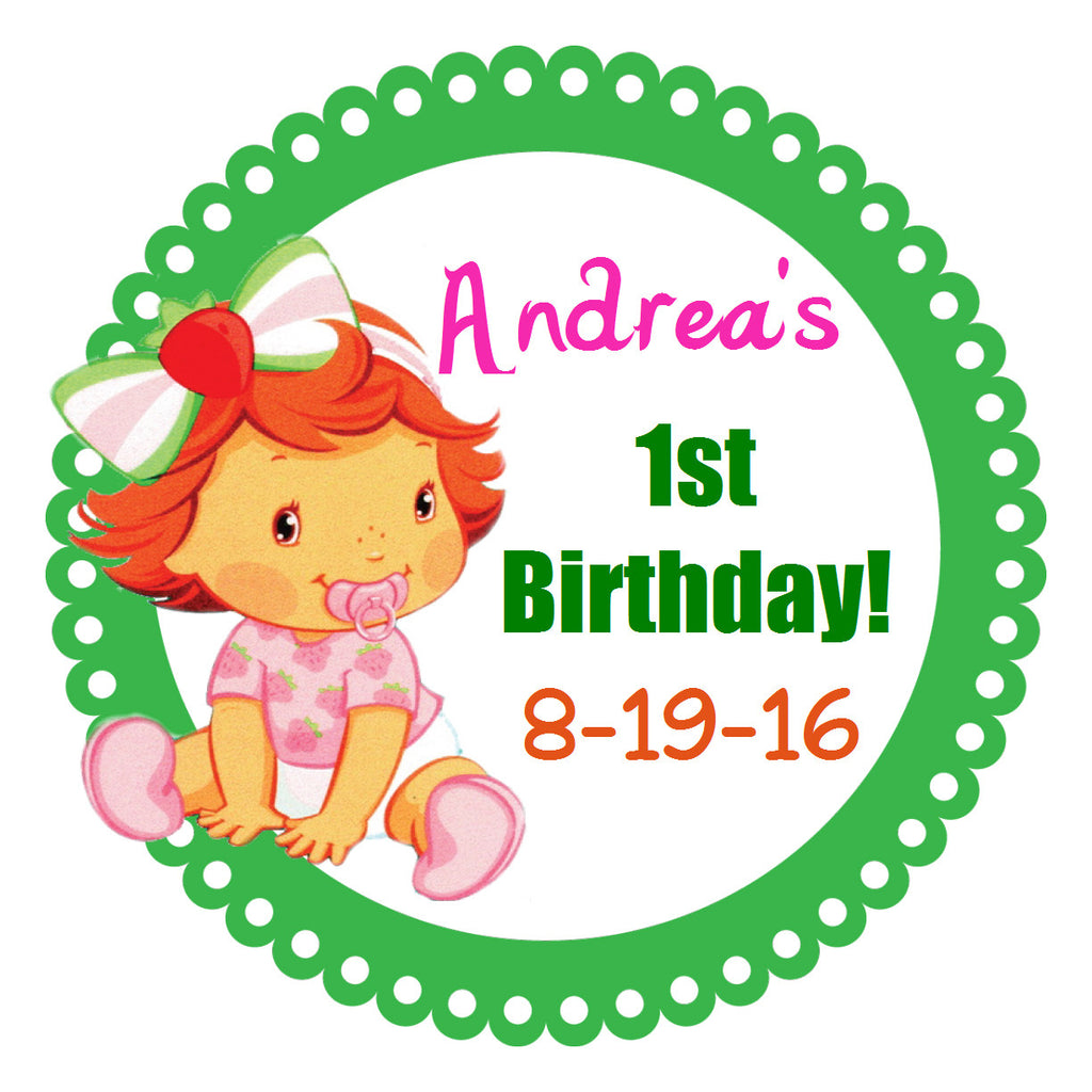 Strawberry Shortcake 1st Birthday - Birthday Party Stickers (#BPS3) - Stork Baby Gift Baskets