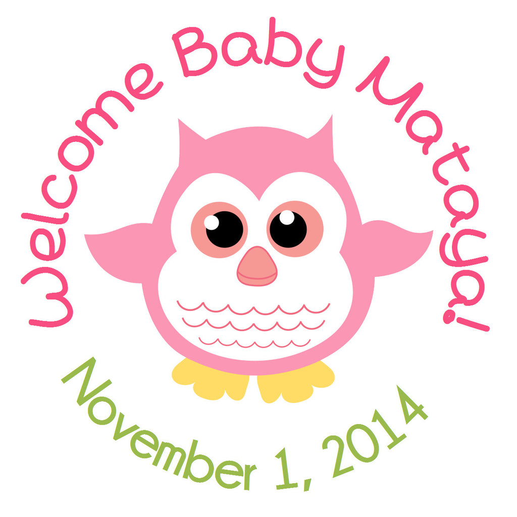 Baby Girl Owl Circle Sticker - Gift Tags & Stickers (#GTS2) - StorkBabyGiftBaskets