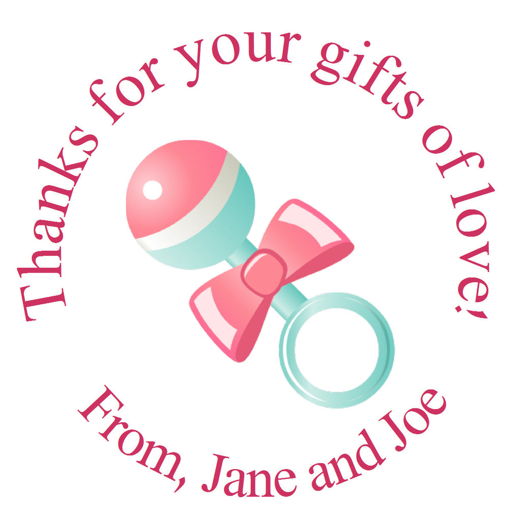 Gifts of Love Rattle Birth Announcement Sticker