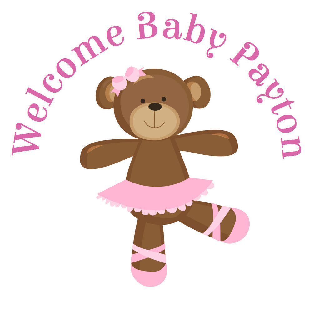 Ballerina Bear Girl Circle Sticker -Gift Tags & Stickers (#GTS10) - StorkBabyGiftBaskets